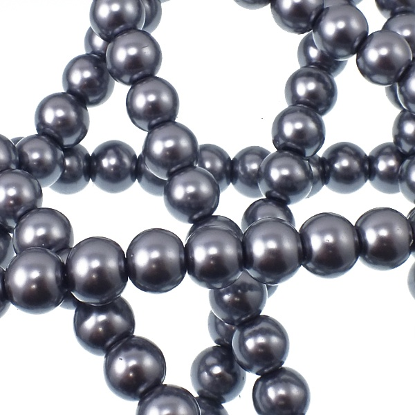 Grey Pearl Beads: 12mm Round Glass Pearl