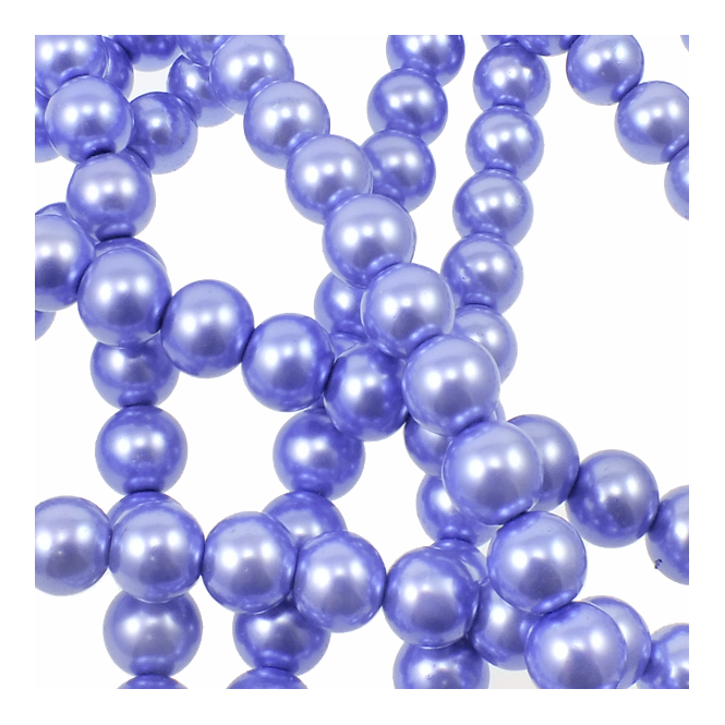 12mm Round Glass Pearl Beads - Heather - 2 Strings (36 Beads)