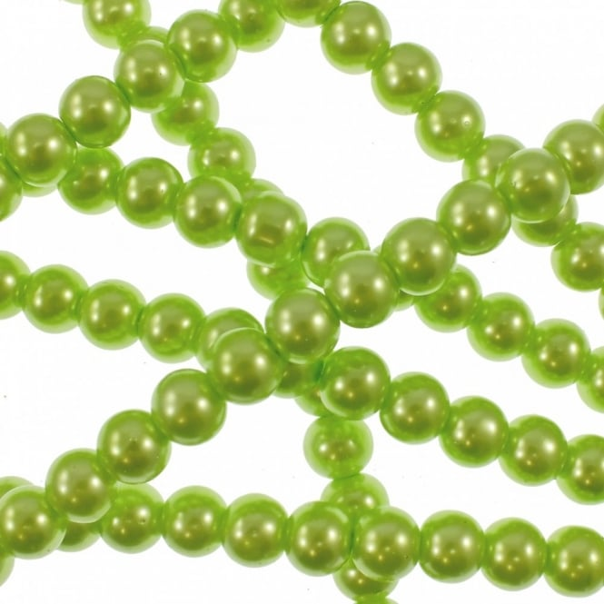 12mm Round Glass Pearl Beads - Lime Green - 2 Strings (36 Beads)