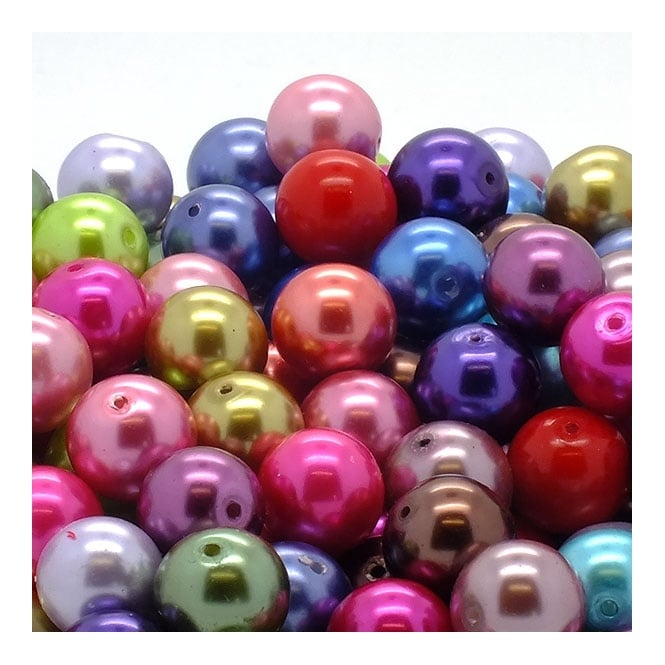 12mm Round Glass Pearl Beads - Mix Colours - 100g (45 Beads)