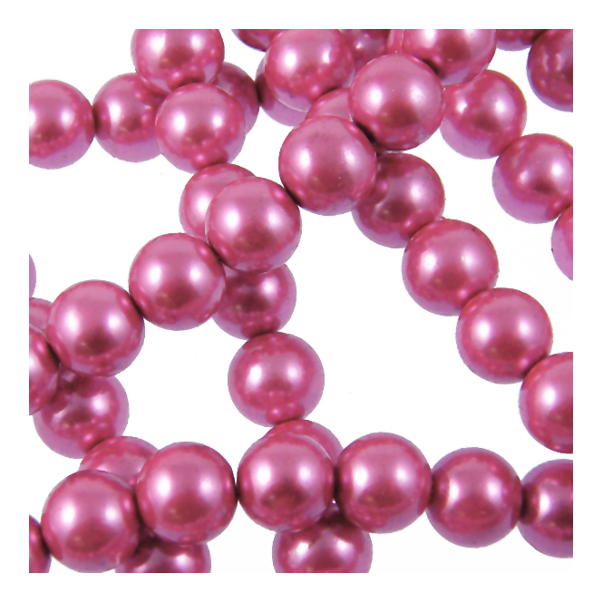 12mm Round Glass Pearl Beads - Pink - 2 Strings (36 Beads)