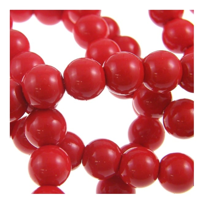 12mm Round Glass Pearl Beads - Red - 2 Strings (36 Beads)