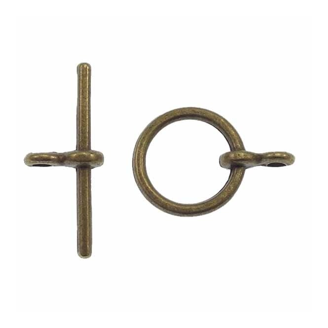 12mm Round Toggle Clasp - Antique Brass Plated - 5pk
