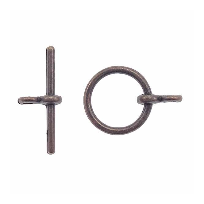 12mm Round Toggle Clasp - Antique Copper Plated - 5pk
