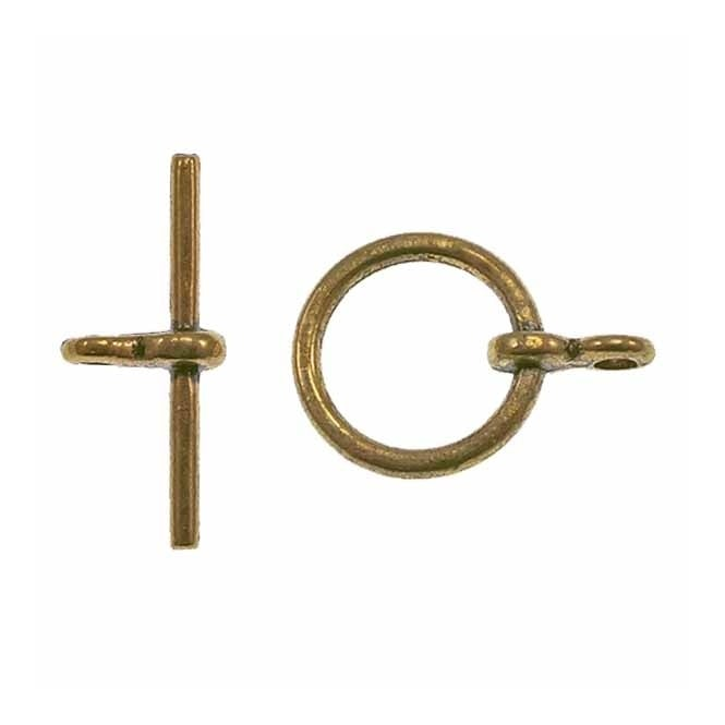 12mm Round Toggle Clasp - Antique Gold Plated - 5pk