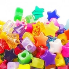 12mm Star Plastic Pony Bead Mix - Assorted - 50pk