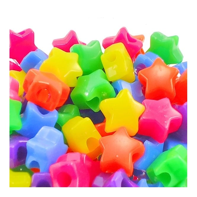 12mm Star Plastic Pony Bead Mix - Neon - 50pk