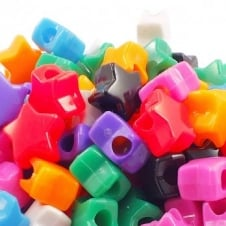 12mm Star Plastic Pony Bead Mix - Opaque - 50pk