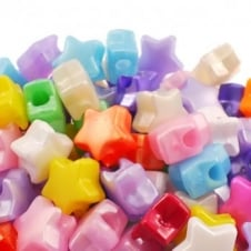 12mm Star Plastic Pony Bead Mix - Pearl - 50pk