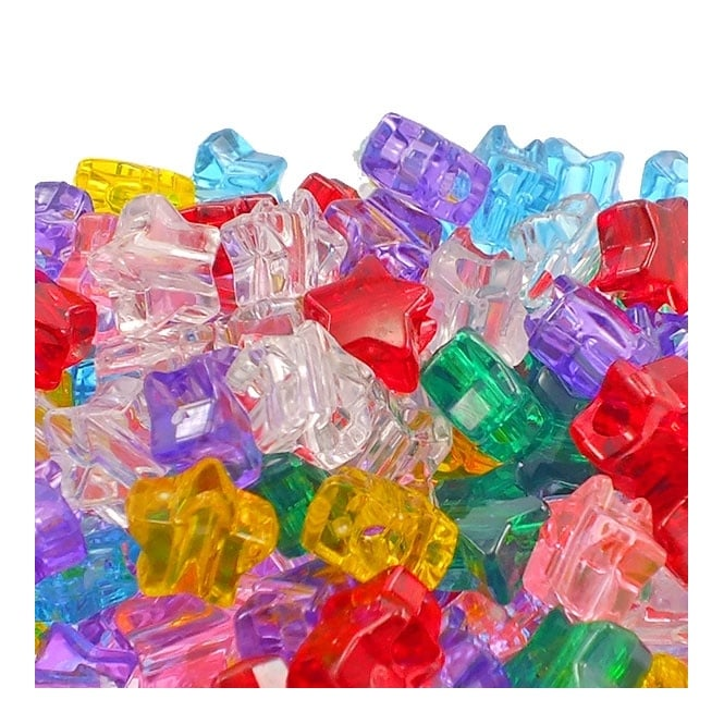 12mm Star Plastic Pony Bead Mix - Transparent - 50pk