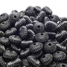 12x16mm Rondelle Shaped Fluted Beads - Black Plated - 10pk
