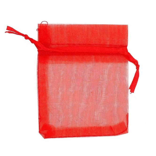 12x22cm Organza Gift Bags - Red - 25pk