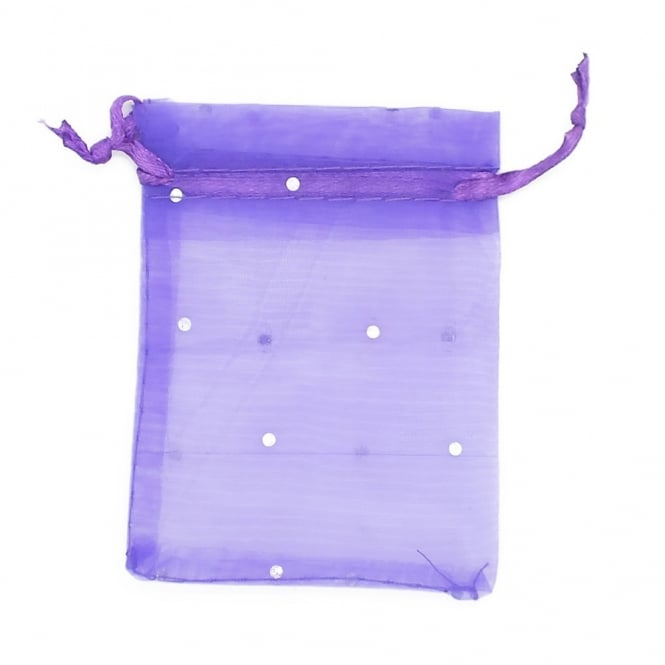 12x23cm Spotty Design Organza Gift Bags - Dark Purple - 25k