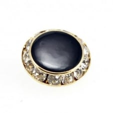 13mm Art Deco Style Crystal Button - Gold - 1pk