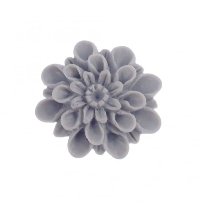 13mm Resin Flat Back Dahlia - Grey - 10pk