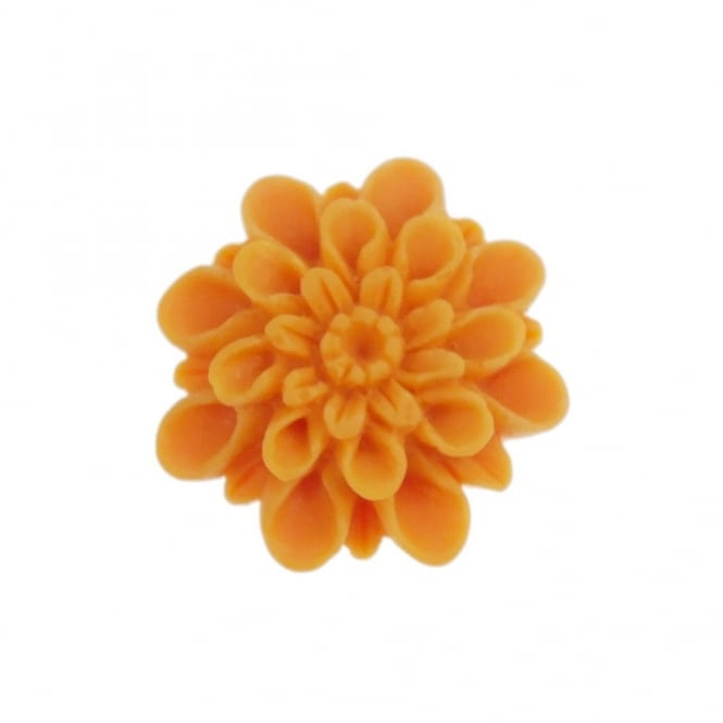13mm Resin Flat Back Dahlia - Orange - 10pk