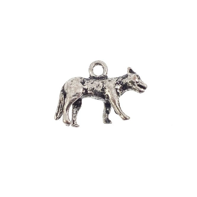 13mm Wolf Charm - Antique Silver Plated - 5pk
