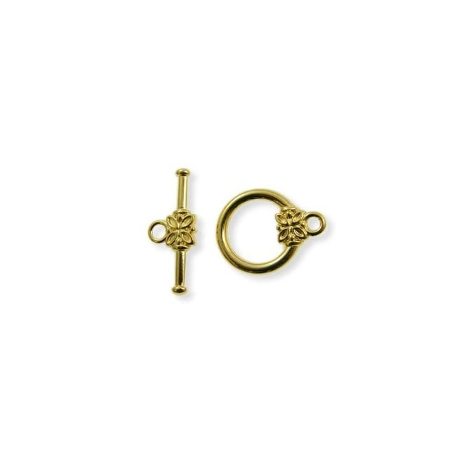 14mm Flower Toggle - Gold Plated - 2pk