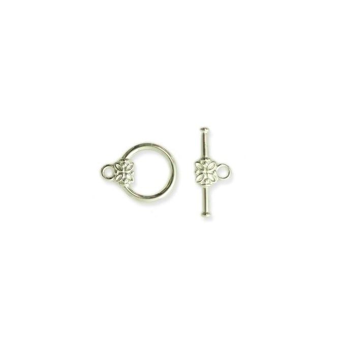 14mm Flower Toggle - Silver Plated - 2pk
