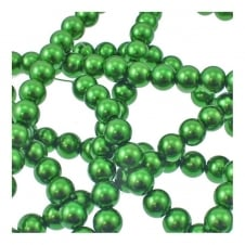 14mm Round Glass Pearl Beads - Bright Green - 2 Strings (32 Beads)