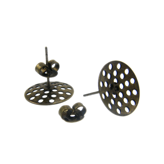 14mm Sieve Earring Findings - Antique Brass Plated - 4pk