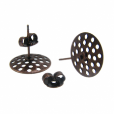 14mm Sieve Earring Findings - Antique Copper Plated - 4pk