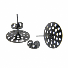 14mm Sieve Earring Findings - Black Plated - 4pk