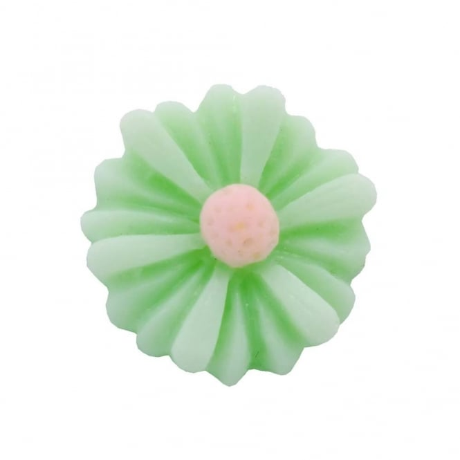 14mm Sunflower Resin Cabochon - Light Green - 10pk