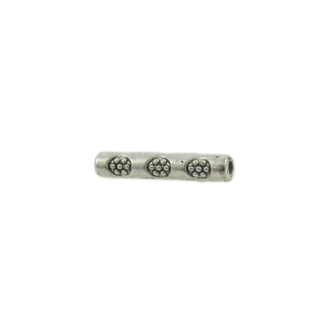 14x2mm Flower Tube Bead - Silver Plated