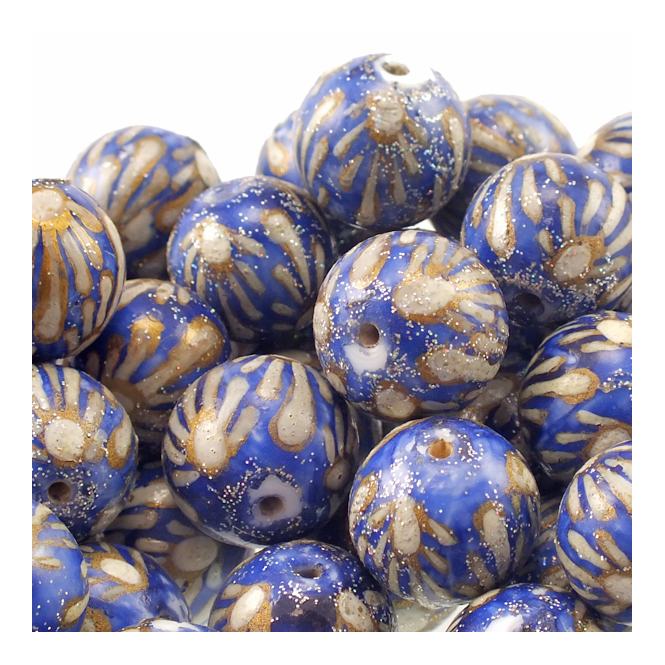 15mm Hand Painted Round Glass Bead - Blue With Flower Design