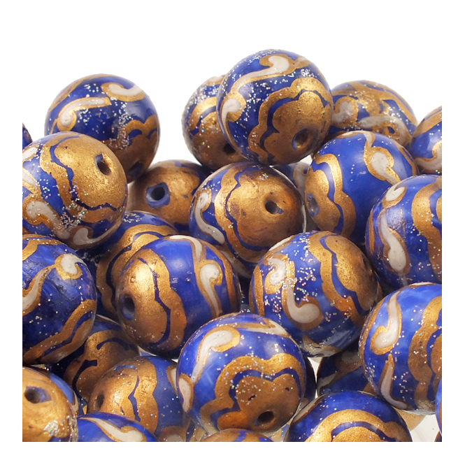 15mm Hand Painted Round Glass Bead - Blue With Gold And White