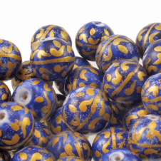 15mm Hand Painted Round Glass Bead - Blue With Gold Design