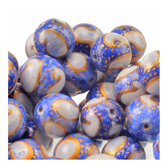 15mm Hand Painted Round Glass Bead - Blue With White Design
