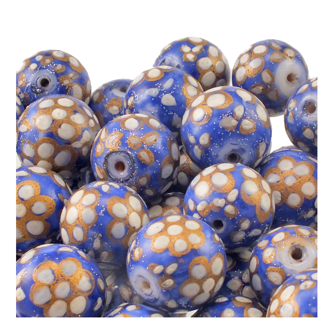 15mm Hand Painted Round Glass Bead - Blue With White Flowers
