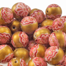 15mm Hand Painted Round Glass Bead - Gold With Red Flower Design