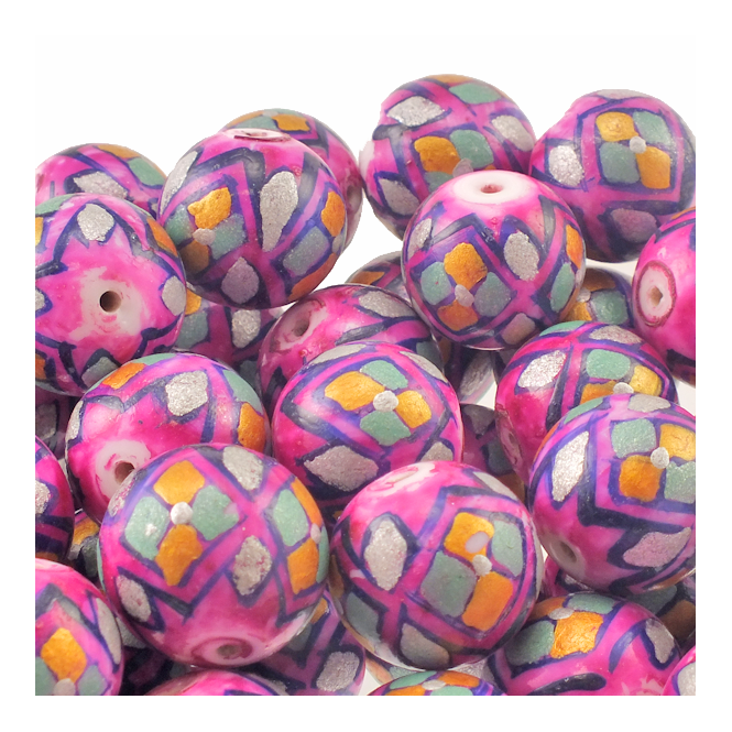 15mm Hand Painted Round Glass Bead - Pink With Diamond Shapes