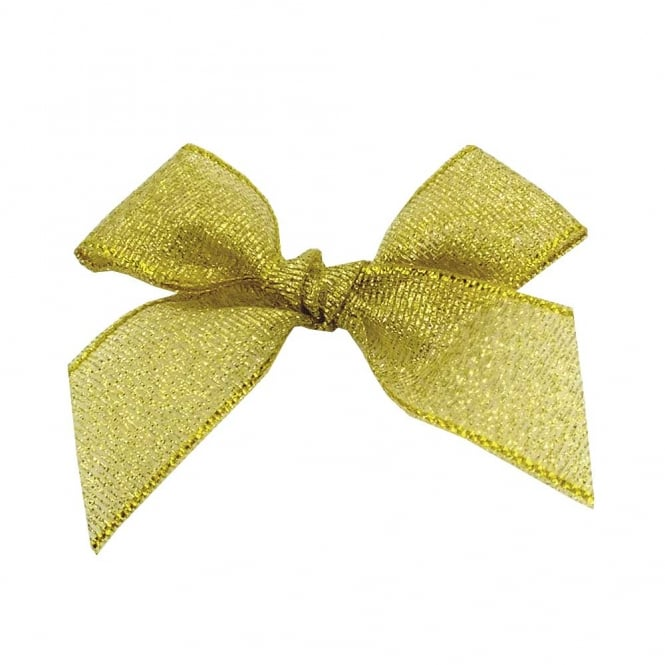 15mm Lurex Ribbon Bows - Gold - 10pk