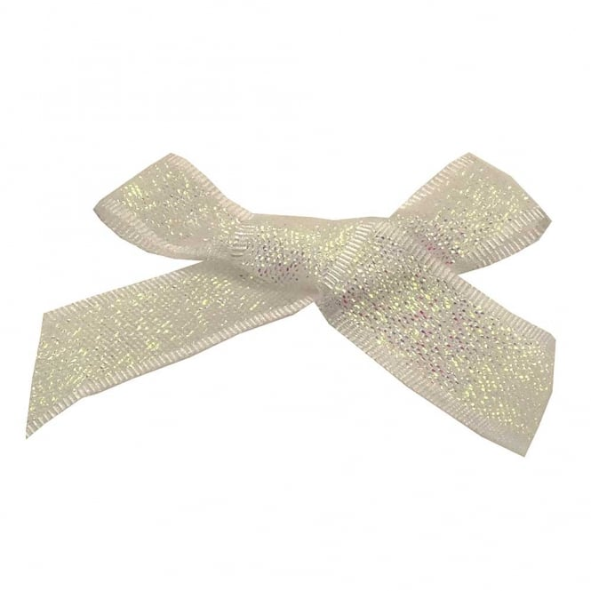 15mm Lurex Ribbon Bows - Opal Iridescent - 10pk