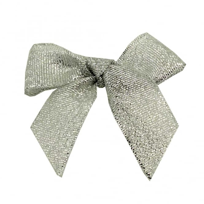 15mm Lurex Ribbon Bows - Silver - 10pk