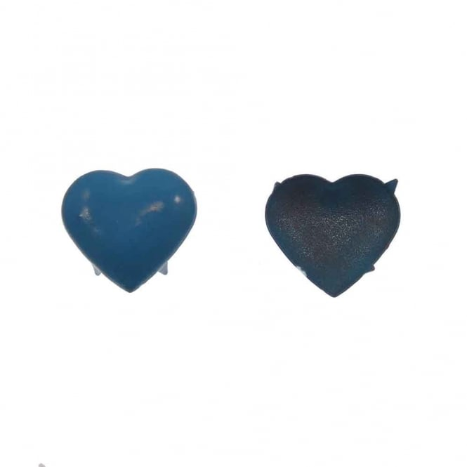 15mm Metal Heart Dome Studs - Blue - 20pk
