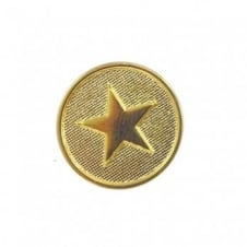 15mm Metal Military Star Button - Gold - 2 pk