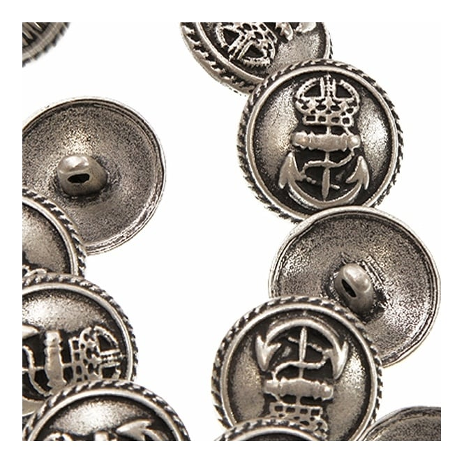 15mm Metal Military Style Anchor Button - Antique Silver Plated - 10pk