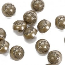 15mm Military Style Metal Dome Button - Antique Gold Plated - 2pk