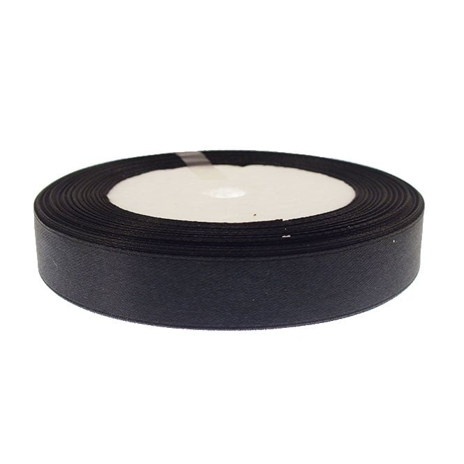 15mm Satin Ribbon - Black - 22m Roll