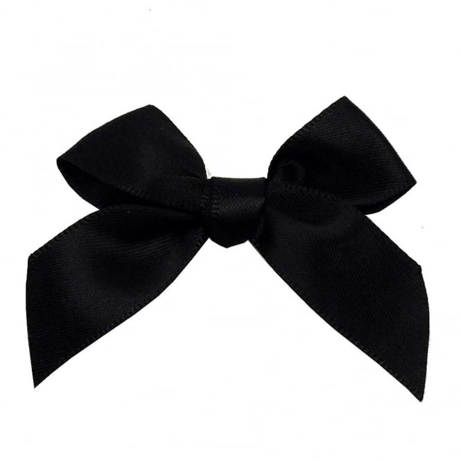 15mm Satin Ribbon Bows - Black - 10pk