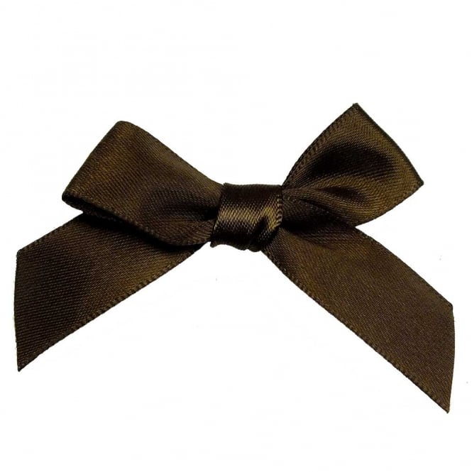 15mm Satin Ribbon Bows - Brown - 10pk