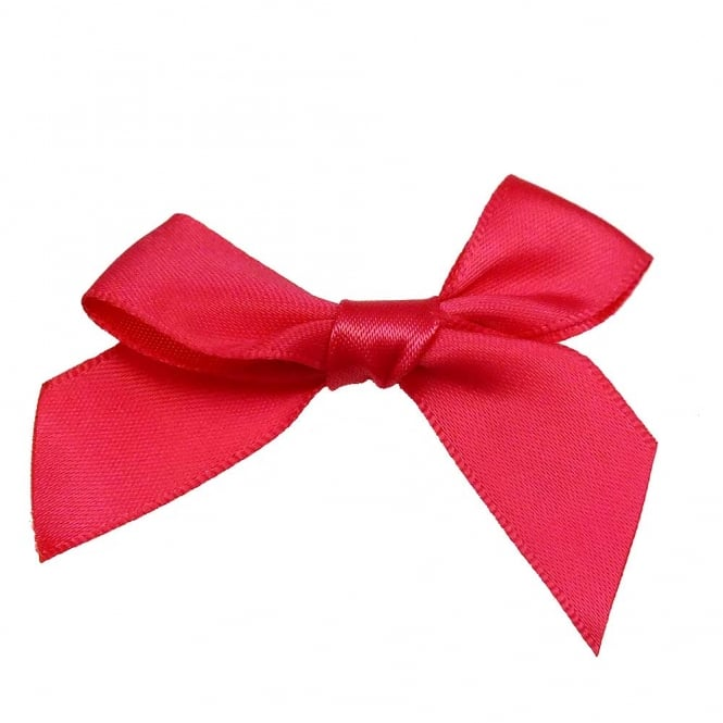 15mm Satin Ribbon Bows - Cerise - 10pk