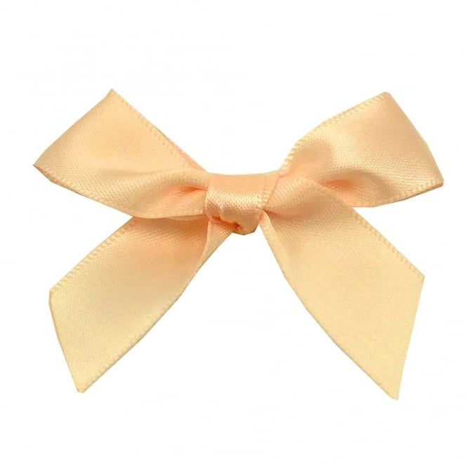 15mm Satin Ribbon Bows - Cream - 10pk