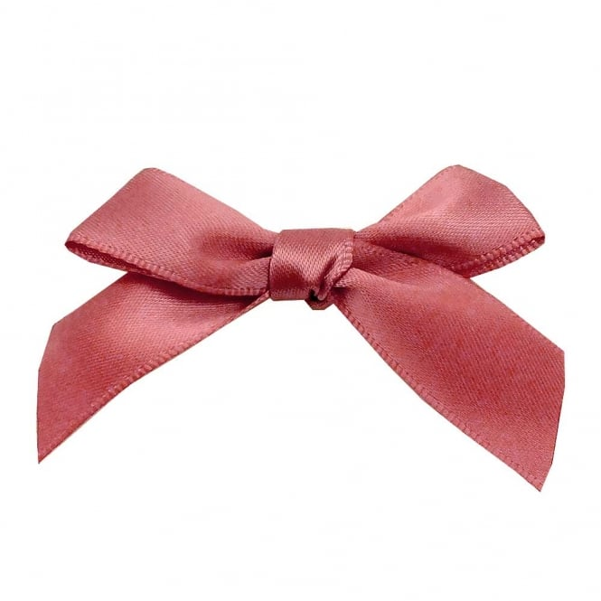 15mm Satin Ribbon Bows - Dusky Pink - 10pk