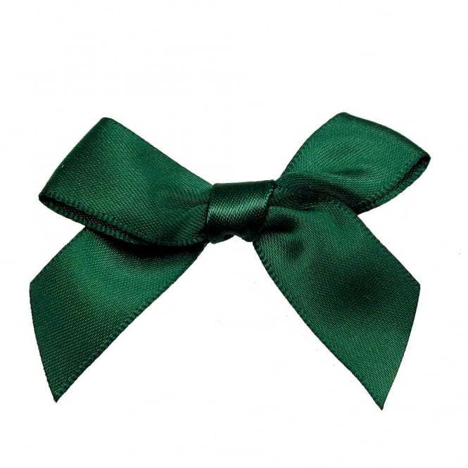 15mm Satin Ribbon Bows - Emerald - 10pk